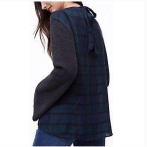 LOFT || Plaid Tie-Back Mixed Media Sweater